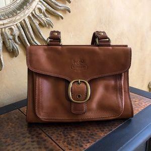 Classic Coach Buckle Flap Handbag in Saddle Brown